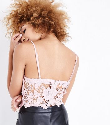 Shell Pink Lace Bustier Top New Look