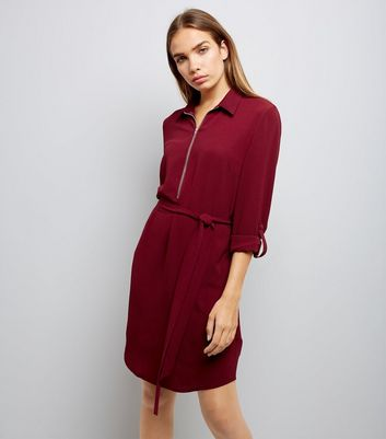 Burgundy Zip Front Belted Shirt Dress New Look