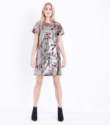 Gold Premium Floral Sequin Tunic Dress New Look