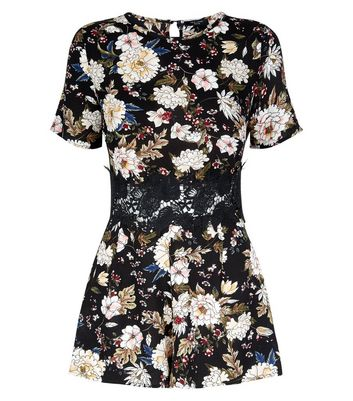 Petite Black Floral Crochet Waist Playsuit New Look