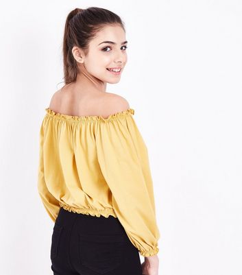 Teens Yellow Cross Stitch Embroidered Bardot Neck Top New Look
