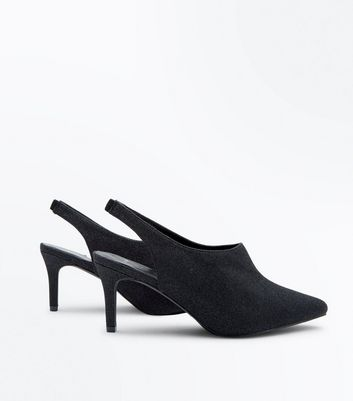 Wide Fit Black Glitter Sling Back Pointed Heels New Look