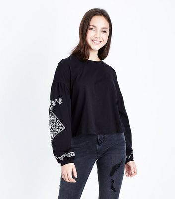 Girls Black Embroidered Balloon Sleeve Top