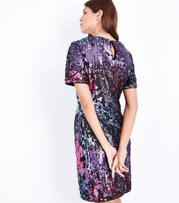 Multi Coloured Premium Sequin Mini Dress New Look