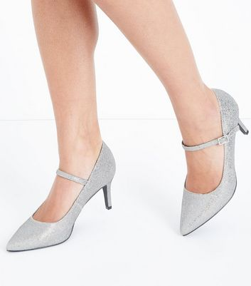 Wide Fit Silver Glitter Mary Jane Heels New Look