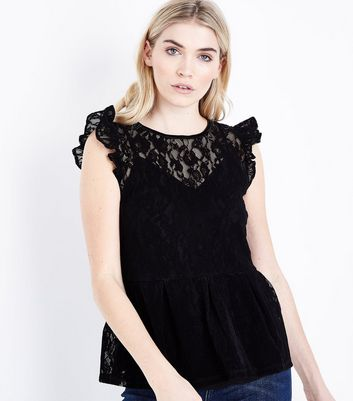 Black Flocked Lace Peplum Hem Top New Look