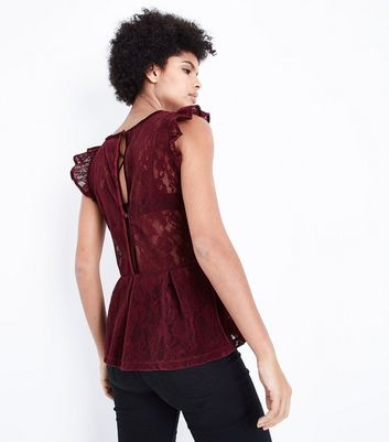 Burgundy Flocked Lace Peplum Hem Top New Look
