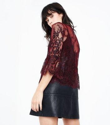 Burgundy 2 Tone Lace Bell Sleeve Top New Look