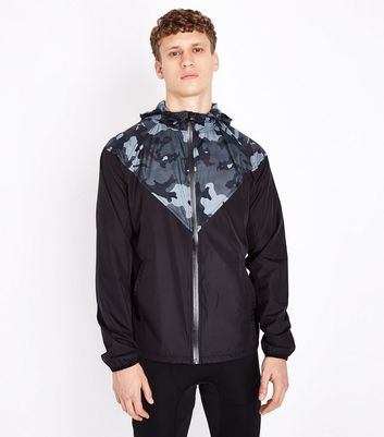 Black Camo Panel Front Sports Jacket New Look