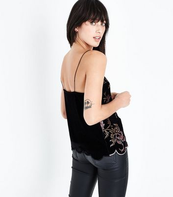 Black Embroidered Velvet Scallop Hem Cami New Look