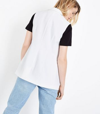 White Sleeveless Blazer New Look