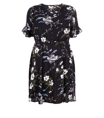 Curves Black Floral Bell Sleeve Dress New Look