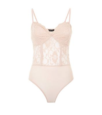 Shell PInk Lace Sweetheart Neck Bodysuit New Look