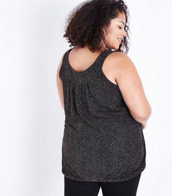 Curves Black Glitter Bubble Hem Vest Top New Look