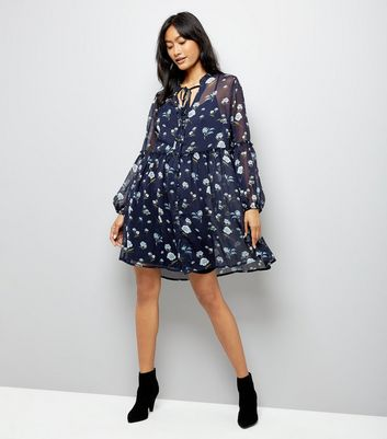 Influence Navy Floral Smock Dress New Look