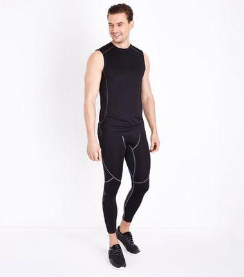 Black Geo Contrast Print Sports Leggings New Look