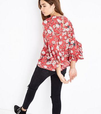 Influence Red Floral Print Peplum Hem Top New Look