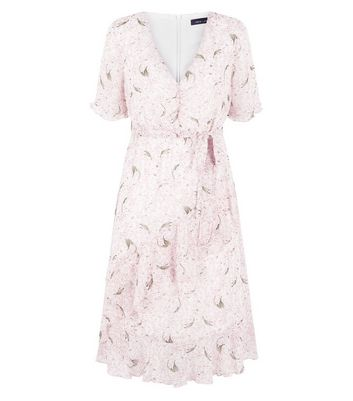 Pink Floral Chiffon Tiered Tea Dress New Look