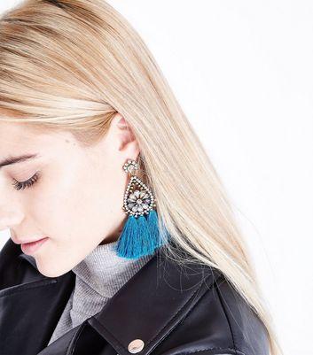 Blue Tassel Chandelier Earrings New Look