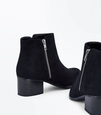 Black Suedette Wooden Block Heel Boots New Look