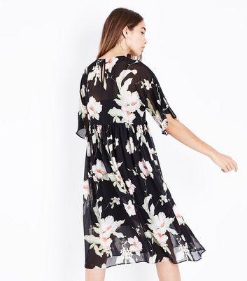 Black Floral Chiffon Midi Smock Dress New Look