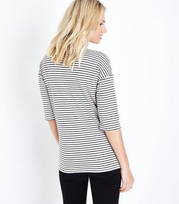 Maternity White Stripe Brushed Top New Look