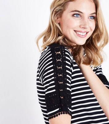 Maternity Black Stripe Crochet Trim T-Shirt New Look