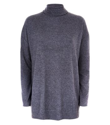 Dark Grey Roll Neck Brushed Tunic Top New Look