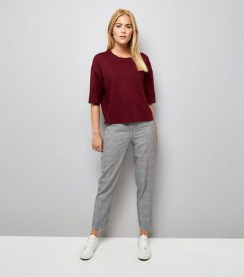 Burgundy Drop Shoulder Boxy T-Shirt New Look