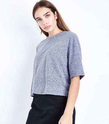 Navy Marl Boxy T-Shirt New Look
