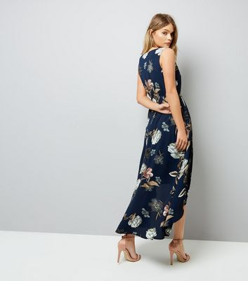 Blue Vanilla Navy Floral Print Dip Hem Midi Dress New Look