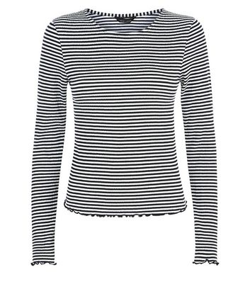 Black Stripe Crinkle Long Sleeve T-Shirt New Look