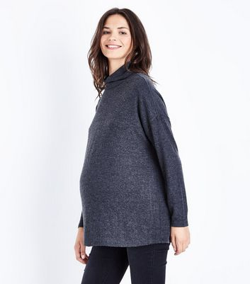 Maternity Dark Grey Cowl Neck Brushed Top New Look