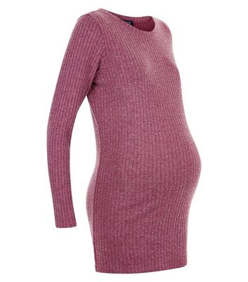 Maternity Burgundy Ribbed Longline Top New Look