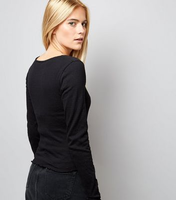 Black Crinkle Long Sleeve T-Shirt New Look