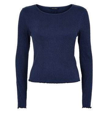 Navy Crinkle Long Sleeve T-Shirt New Look