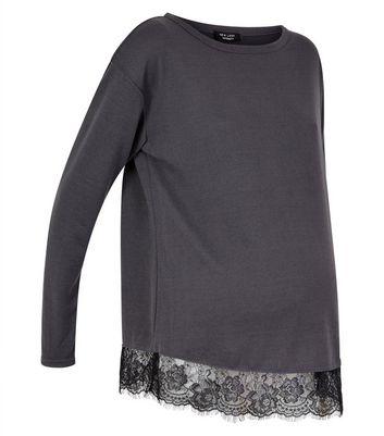 Maternity Dark Grey Lace Hem Top New Look