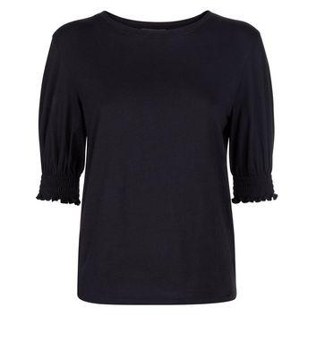 Black Shirred Cuff T-Shirt New Look
