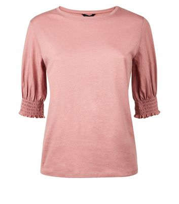 Pink Shirred Cuff T-Shirt New Look