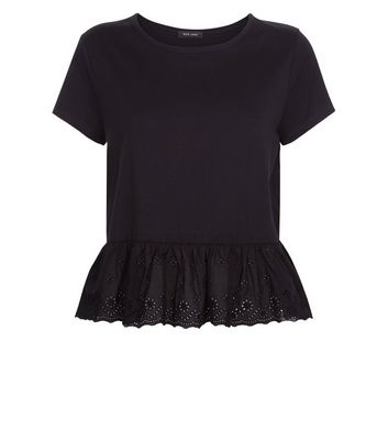 Black Broderie Peplum Hem T-Shirt New Look