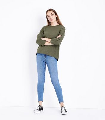 Olive Green Batwing Sleeve T-Shirt New Look
