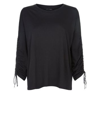 Black Ruched Long Sleeve T-Shirt New Look