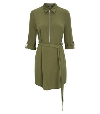 Petite Khaki Zip Front Collared Dress New Look