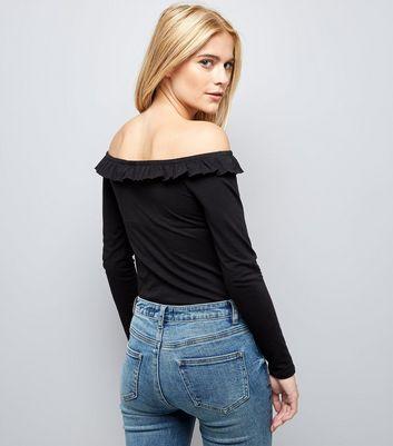 Black Frill Trim Bardot Neck Top New Look