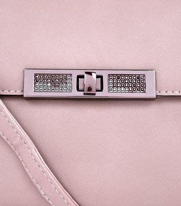 Nude Diamante Front Mini Top Handle Bag New Look
