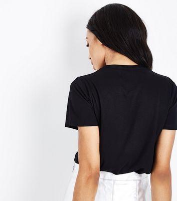 Black Au Revoir Rhinestone T-Shirt New Look