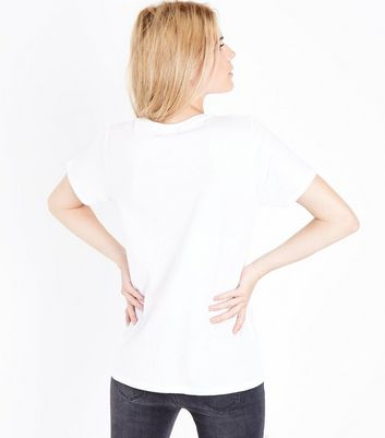 White Floral Slogan Print T-Shirt New Look
