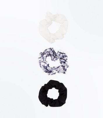 3 Pack Snakeskin Print Scrunchie New Look