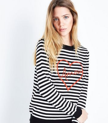 White Stripe Amour Embroidered Jumper New Look