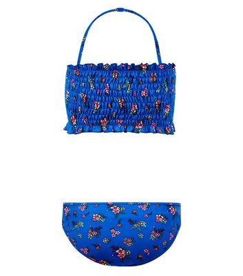 Teens Blue Floral Print Shirred Bandeau Bikini New Look